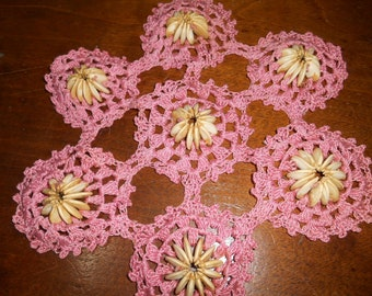 Crocheted Pink / Seed Doily / Doilie