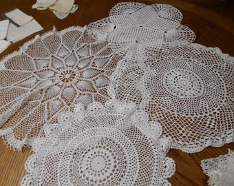 Lot of 4 White Crochet Doilies