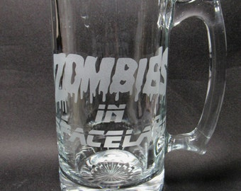 IW COD Zombies in Space Inspired Etched Engraved Glass Beer Mug - Zombies in Spaceland Mug Zombies in Spaceland Beer Mug