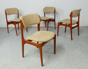 set of 4 mid century Danish modern Erik Buck teak oatmeal tweed dining chairs