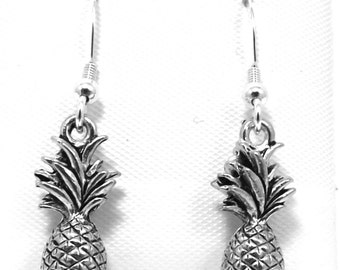Pewter Pineapple Charms on Sterling Silver Ear Wire Dangle Earrings - 0178