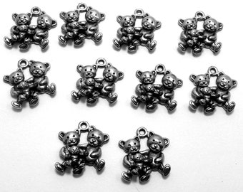 Set of Ten (10) Pewter  Teddy Bear Family Charms -0221