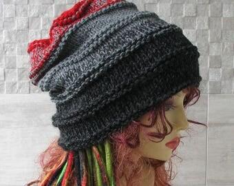 Man slouchy beanie Dreadlocks Beanie, Men Dread Hat, Man Hat Hand Knitted Tam Oversized Slouch,  slouchy tam , Men's Hat