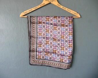 Vintage silk scarf - silk square scarf - pink brown and blue silk scarf - hand rolled silk scarf - stylised floral silk scarf