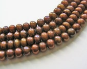 4.5mm Round Brown Freshwater Pearl Beads 16 Inch Strand