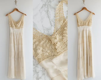 Edwardian Silk Nightgown - 1910s Cream Slip , Crochet Yoke - Barefoot Walk Slip
