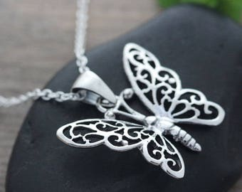 Sterling silver Butterfly Necklace, Silver Butterfly necklace, Butterfly Pendant necklace, sterling butterfly Jewelry. Batterfly Charm