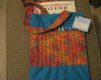 Adult's coloring book and pencil bag -- blue with brown/orange batik pocket
