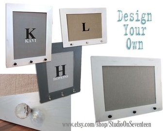 Large Burlap Cork Board-Custom Framed Cork Board-Design Your Own Distressed Message Board-Pin Board-Bulletin Board- 24x30 - Monogram