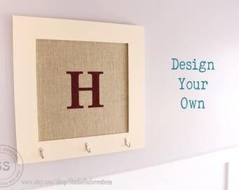 Square 24x24 Burlap Cork Board-Custom Framed Cork Board-Design Your Own Distressed Message Board-Pin Board-Bulletin Board - Monogram