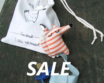 SALE Pacifier clip, Fox with totebag, On sale