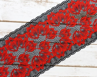 """7"""" Red + Black Floral Double Scallop Galloon Stretch Lace By The Yard"""