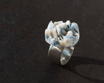 Misty Pale Blue Rocks Ring Adjustable Size Cluster Ring