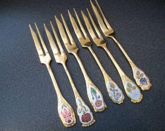 Vintage Goldtone Appetizer/Pastry Forks With Cloisonne Flower Design Inset-Set of Six