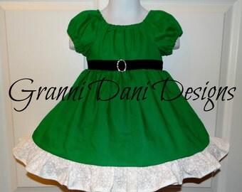 Elf Christmas Holiday peasant dress baby toddler girl 6 9 12 18 24 months 2t 3t 4t 5t green white snowflake black rhinestone twirl