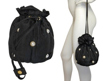 MOSCHINO by Redwall 1990s Vintage Large Bucket Bag Evening Handbag Black Nylon Faux Pearls