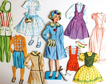Vintage Paper Doll Set with Snap Ons*Vintage Sue Paper Doll with Clothes and Accessories
