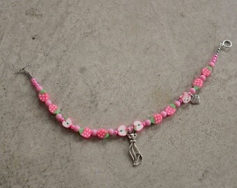 260mm Pink Apple, Strawberry and Cat Charm Bracelet