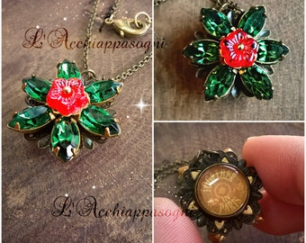 Anastasia Together In Paris Necklace - Miniature Anastasia cosplay - Once Upon a Dicember - Romanov - bronze - flower - TURMALINE green