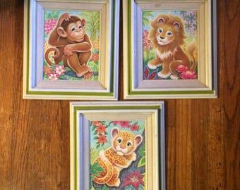 K. Chin tiger leopard monkey white green framed prints colorful cute jungle safari Animals 70s kitschy art set 3