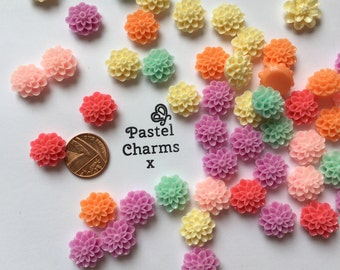 Pack of 10 mixed colour puff flower embellishments