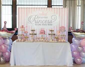 Princess Themed Baby Shower Backdrop   .JPEG File Via Email Delivery   You  Print Your