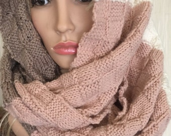 Unique hand knitted/crochet scarf,irish Aran Celtic handmade soft scarf in basket stitch womens oversized cowl snood chunky bulky xmas gift