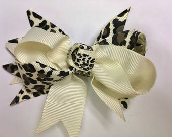 50% OFF SALE!! Cream Cheetah Hair Bow, Newborn Headband, Baby Girl Headband,  Toddler Headband, Adult Headband