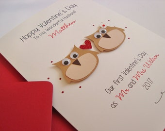 Personalised Owls Husband/Wife Handmade Valentine's Card First Valentine's as Mr and Mrs