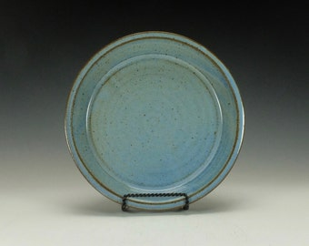 Pottery Pie Plate.  Stoneware.  Light blue with iron spots.  Ready to ship.