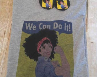 We Can Do It, Black History Tee T-shirt, Afro Natural Hair Statement Tee, Matching Earrings Available,Rosie Girl Power