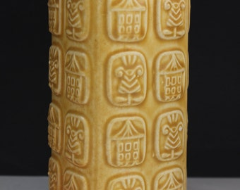 Bay Vase   Ocre Relief West Germany Retro Mid century Fat Lava