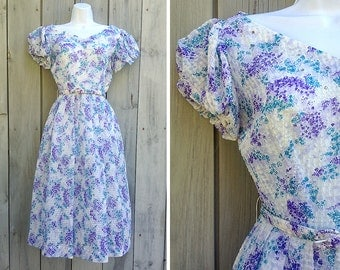 Vintage dress | 1950s sheer floral dress with rhinestone accents