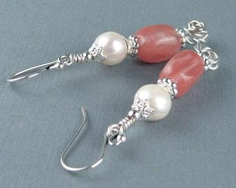 Cherry Quartz, Freshwater Pearls, Dangle Earrings, Semi Precious Stones, Pink, Silver Wire, Silver Beads, Victorian Style, Handmade, Elegant