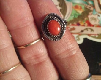 Vintage Coral Ring Sterling silver