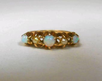 SALE Antique Art Deco Victorian Opal and Seed Pearl Stack Ring Wedding Ring 10k Yellow Gold