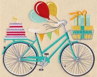 Blow Out the Candles Bike Embroidered Towel | Flour Sack Towel | | Dish Towel | Kitchen Towel | Hand Towel | Vintage Bicycle