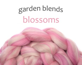 Blended Merino roving - spinning fiber - 100g/3.5oz - pinks - Garden Blends - BLOSSOMS