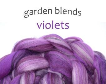 Blended Merino roving - spinning fiber - 100g/3.5oz - purples - Garden Blends - VIOLETS