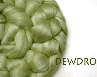 DEWDROP - blended roving-Merino-milk-silk-faux cashmere-firestar-pale green-100g/3.5oz