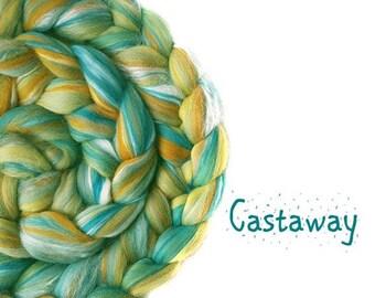 Blended roving - Merino - Tussah silk - 100g/3.5oz - teal - amber - CASTAWAY