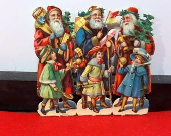 Antique Santa Die Cut Scraps - German - 3 Different #2
