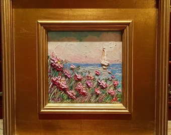 "KADLIC Original Oil Painting Seascape Sailboat Pink Poppies Landscape Impressionism Poppy Art 12x14"""