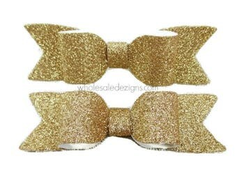"""New! Gold Glitter Bows - 3.5"""" Shimmery Bow with Long Tails - Single Loop DIY Bows Headband Hair Clip"""