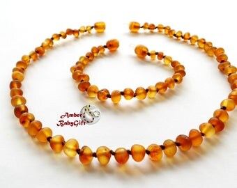 Set of Unpolished Multicolored Amber Teething Necklace and Bracelet / Anklet - Cognac Amber Beads - Screw clasp - Choose Your Length, 32R