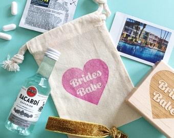Brides Babe favor bag- hangover kit bag- bachelorette party favors- bridal party favor bag- bridesmaid bags- hangover bag