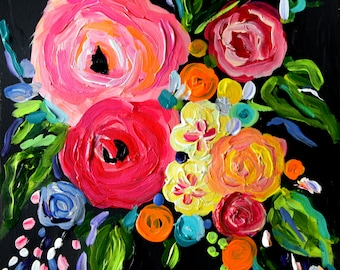 """NEW! Small Abstract Flower Painting, Wedding bouquet, 12"""" x 12"""" on Heavy Linen Paper, Original painting"""