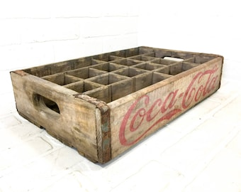 Vintage Coca Cola Soda Crate 24 Bottles Shipping Box Wood Centerpiece Craft Storage