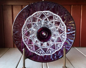 "Repurposed Glass Flower, Sun Catcher Glass Garden Art - ""Penny"" Amethyst Purple Glass Flower, Made from Glass Plates"