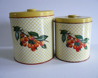 Kitchen Canisters By Decoware With Cherries And Yellow Lids